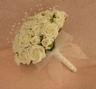 ARTIFICIAL WHITE FOAM ROSE WEDDING FLOWERS CRYSTAL BRIDE WEDDING BOUQUET POSIE